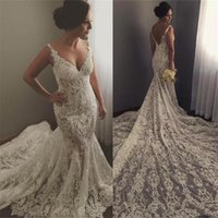 Incredibile Illusion Full Lace Mermaid Abiti Da Sposa 2018 Sexy Scollo AV Appliques Sweep Treno Abiti Da Sposa Robe de soriee Abiti Backless