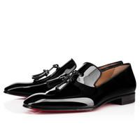 Wholesale dress shoes tassels online - 2017 Zapatos Mujer Hot Dandelion Patent Leather Tassel Fringe Flat Black Gladiator Slip On Mens Loafers Dress Fashion Mens Shoes