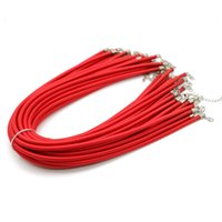 Wholesale Red Necklace Cord - 3mm 4mm 5mm X 52CM Girls Fashion Red Choker Silk Cord Necklace with Clasp in Bulk ZYN0011-Red
