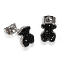 Wholesale Black Onyx Jewelry For Women - TL Stainless Steel 2 Colours Bear Earrings High Quality For Women Brand Jewelry Never Fade Cute
