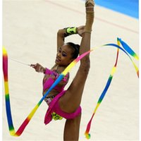 Wholesale Stick Streamer Dance - 4M Gym Dance Ribbon Art Gymnastics Ribbon Ballet Streamer Twirling Rod Stick Colorful