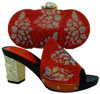 Wholesale Matching Shoes Bags Orange - Beautiful orange rhinestone ladies shoes with bag set african shoes match handbag set for party dress BCH-10,high heel 7.5MM