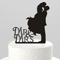 Wholesale wedding topper silhouette - Wholesale- Creative Hot 1Pcs lot Lovely Kissing Bride Groom Mr. & Mrs. Silhouette Wedding Cake Topper Party Decor 0017