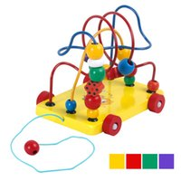 Wholesale Color Copy Machine - 2017 4 Color Funny Baby Game Toy kids Educational Wooden Toys Toddler Infant Developmental Toys Gift Round Bead for Kids Children Learning