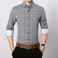 Wholesale Long Sleeved Dress Korean - 2016 The spring and autumn male long sleeved shirt Korean casual Plaid Cotton long slim mens shirt wholesale