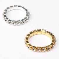Wholesale women korean rings - 2017 Korean Bright Silver Plated Elastic Imitation Diamond Rings. Shining Full Crystal Rhinestone finger Rings for women jewelry