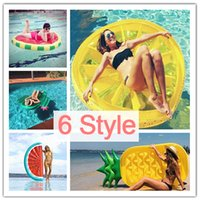 Wholesale Wholesale Pineapple Halfs - 180CM Inflatable Pineapple Half Watermelon Lemon Cactus Pool Float Island Swimming Ring Board Water Giant Toys Raft Bed Leisure Air Mattress