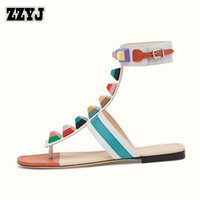 Men spool tape - ZZYJ Europe Brands Genuine Leather Womens sandals fashion Ankle tape Candy colors flip flops summer large size Flat heel sandals