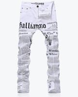Wholesale Newspaper Pencils - Wholesale- Fashion Novelty Newspaper designer letter print white slim jeans