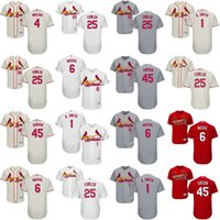 Wholesale Men Dexter - Mens 2017 St. Louis Cardinals #25 Dexter Fowler 1 Ozzie Smith 45 bob gibson 6 stan musial Flexbase Cool Base All Stitched Baseball Jerseys