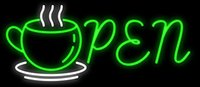 "Wholesale Neon Coffee Open Signs - 24"" x20"" Open Coffee Tea Cafe Neon Sign Custom Restaurant Food Shop Neon Lights Lamp Sports Bar Beer Signs Glass Neon Light"