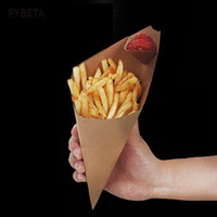 Wholesale Noodle Cups - 100pcs lot-S,L Disposable Cone Kraft Paper French Fries Cup Fried Chicken Wings Popcorn Dessert Storage Boxes