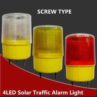luces de advertencia de alarma al por mayor-Al por mayor-Solar Powered Traffic Light, blanco / amarillo / rojo LED de señal de seguridad solar Beacon Alarm Lamp Solar Emergency LED luz de advertencia estroboscópica