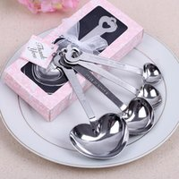 Wholesale Love Measuring Spoons - Love Wedding favors of Simply Elegant Heart Shaped Stainless Steel measuring spoon 4pcs set gift box fast shipping