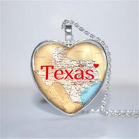Wholesale Photo God - 10pcs lot Texas Pendant, Texas Necklace, State Heart Necklace, God Bless Texas heart Necklace Glass Photo Cabochon Necklace