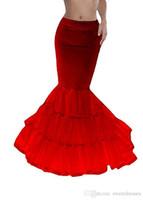 vestidos de rabo de peixe preto venda por atacado-Barato Preto Vermelho Sereia Nupcial De Noiva Crinolina Camadas Casamento Slip UnderSkirt Fishtail Petticoat para Ocasião Especial Vestido Em Estoque