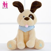 Wholesale play dogs games for sale - 30Cm Stuffed Plush Animal Hot Peek A Boo Electric Puppy Dog Play Hide Seek Cute Cartoon Toys For Children Kids Birthday Gift