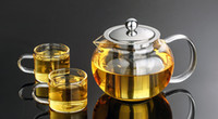 Wholesale Teapot Cup Sets - 1SET Heat Resistant Glass Tea Pot Flower Tea Set Puer kettle Coffee Teapot With Infuser 1PC 650ML teapot+2pcs Cup J1032-1