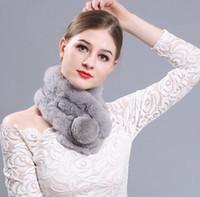 Wholesale Black Rex Rabbit Fur Scarf - New Fur Scarf Europe and United States Winter Lady Rex Rabbit Warm Scarf