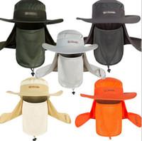 erkek çocuk kovası şapkaları toptan satış-Hangiinshower Geniş Geniş Brim Güneş Blok Balıkçılık Şapka Yüz Boyun Koruma Yaz Güneş Kap Dağ Tırmanma Kova Şapka Ile Dize BA501