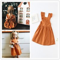 Wholesale European Style Cuffs - Girls Pumpkin color Falbala cuffs Dress cute infants Overalls Suspender skirt lace up Ruffled cuff princess dress ins Baby