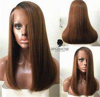 Wholesale Lace Wigs America - Human Hair Short Wigs For Black Women Brazilian Ombre Color Remy Hair Lace Front Human Hair Wigs African America Bob Wigs