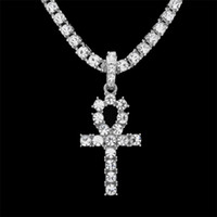 Wholesale Egypt Crystal - Hip Hop Gold Silver Ankh Egyptian Jewelry Alloy Pendant Bling Rhinestone Crystal Key To Life Egypt Cross Necklace Chain