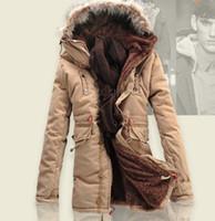черный длинный капюшон оптовых-Толстые теплые длинные зимние куртки мужчины меховой капюшон теплый зимний пальто черный зеленый мужчины пуховики плюс размер M-3XL
