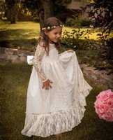 Wholesale Muslim Girls - White Lovely Vintage Lace Flower Girls Dresses For Wedding Gowns A Line Crew Long Sleeves Princess Muslim Girls Cupcake Pageant Dresses