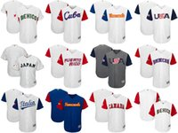 Wholesale Italy Customs - Men's Women's Kid's-USA CANADA JAPAN ITALY MEXICO Puerto Rico CUBA Baseball 2017 World Baseball Classic Custom Personalized any name Jerseys