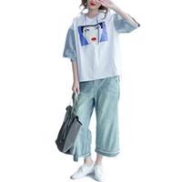 Wholesale Denim Shirt Hoodie - Summer T-Shirt Plus Size Women Gril Pattern Print Hoodies & Sweatshirts Cotton Patchwork Denim Female Casual Hole Hat