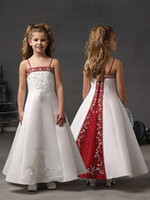 Wholesale Daughter Wedding Dress - White and Red Flower Girls Dresses with Spaghetti Straps Ankle Length Princess Gowns Bridal's Daughter Flower Girls' Dresses For Weddings