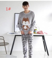 Wholesale Animal Pajama Suits - Autumn couple pajamas men and women cartoon camouflage flannel home service couples pajamas suit