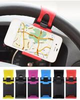 galaxy s5 araba sahibi toptan satış-Araba Bisiklet Direksiyon Klip Dağı Tutucu Braketi iPhone 4 S 5 5 S 5C için iPod için Samsung Galaxy S4 S5 Cep Telefonu GPS MP4 PDA