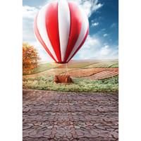White Red Hot-air Balloon Countryside Scenic Photography Backdrops Mariage Romantique Photo Fond Enfants Enfants Portrait Studio Backdrop