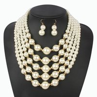 Wholesale Girls Multilayer Necklace - Imitation Pearl Beige Jewelry Set Elegant Wedding Classic Multilayer Handmade Beads Choker Necklaces Earring Colares Femininos For Women