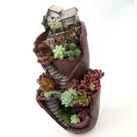 ingrosso vasi da giardino della resina-Vendita calda resina vaso di fiori piante succulente pot giardino bonsai fioriera micro paesaggio vaso da fiori decorazione giardino fioriera