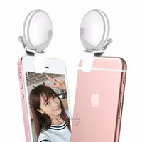 Wholesale Clip Hot Mobile - 2017 Universal LED Photography Night Mobile Phone Selfie Light Case Portable Round Ring Clip for iPhone 7 Samsung Huawei Xiaomi Hot selling