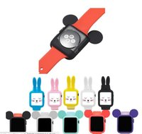 Sacs De Souris Pour Dessin Animé Pas Cher-Mignon bande dessinée lapin oreille de souris Housse de protection en silicone souple pour Apple Watch Case i Montre série 1 2 coque de coque 38 42mm