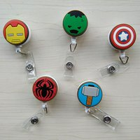 Wholesale retractable clip for id cards for sale - Group buy 5 Cartoon Circle Captain American Badge Holder Retractable ID Badge Reel with Belt Clip for ID Card Badge Holder Tag Office Stationery