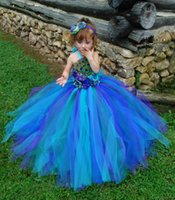 Wholesale Girls Peacock Ball Gown - Princess tutu dress in peacock style colors Pageant dress celebration for girls in performance party show free shipping