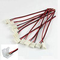 conectores de tira led de 8mm al por mayor-Conector 8mm 10mm 2pin para 3528 5050 5630 LED de una sola tira LED Conector de placa PCB de alambre