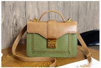 Wholesale Orange Vintage Bag - New vintage lock button single shoulder messenger handbag women fashion evening purse lady popular casual bag black brown pink orange red