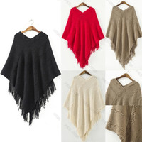 Wholesale Solid Pull Overs - Wholesale-Women Batwing Cape Poncho Knit Top pullovers Pull Over Sweater Coat Outwear