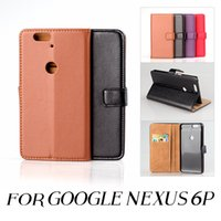 Wholesale Leather Case Nexus Frame - Luxury Flip Leather Stand Wallet Case For Nexus 6P Business Card Slots + Photo Frame Phone Cover For Nexus 6P