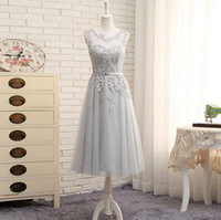 Wholesale 2017 Light Grey A Line Long Prom Dresses Jewel Sleeveless Appliques Beading Tea Length Lace up Tulle Evening Gowns