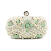 Wholesale Colored Clutches - Wholesale- 2016 New Style Fashion Pearl Evening Bag Colored Beaded Flower Clutch Bag Big Pearl Head Hand Bag Chain Purses Wallet S375