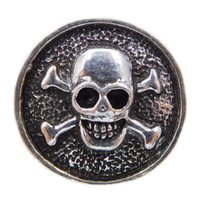 Wholesale rhinestone skull beads wholesale - A036 Noosa metal skull chunks snap button jewelry newest copper skeleton Nana snaps