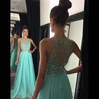 Wholesale long aqua beaded prom dress - Beautiful O Neck Crystal Beaded Champagne Aqua Prom Dresses Sheer Beaded Sequins Keyhole Back Chiffon Long Evening Dresses Party Gowns