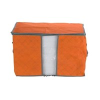 Atacado- Orange Quilt Blanket Pillow Under Bed Sacola de armazenamento Bag Box Container Non-woven Fabric